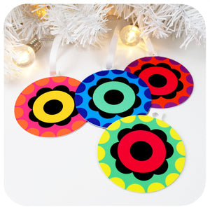 set of 4 retro christmas tree decorations at a jaunty angle | The Inkabilly Emporium