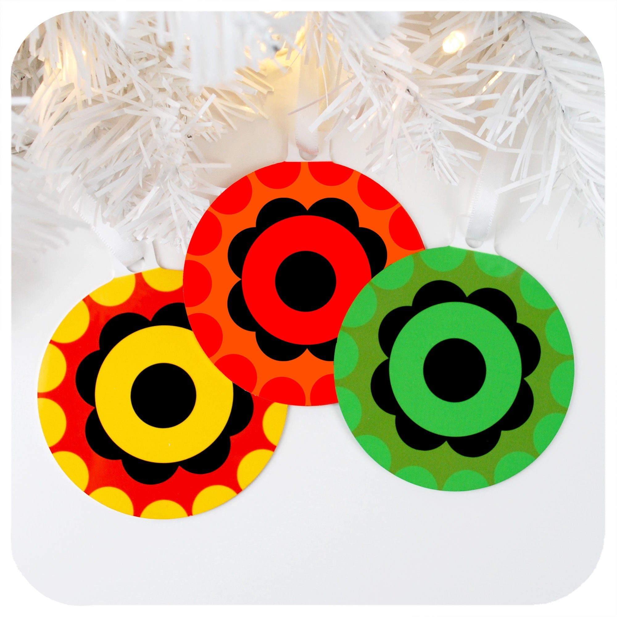 70s style retro Christmas Tree Decoration - set of 3 | The Inkabilly Emporium