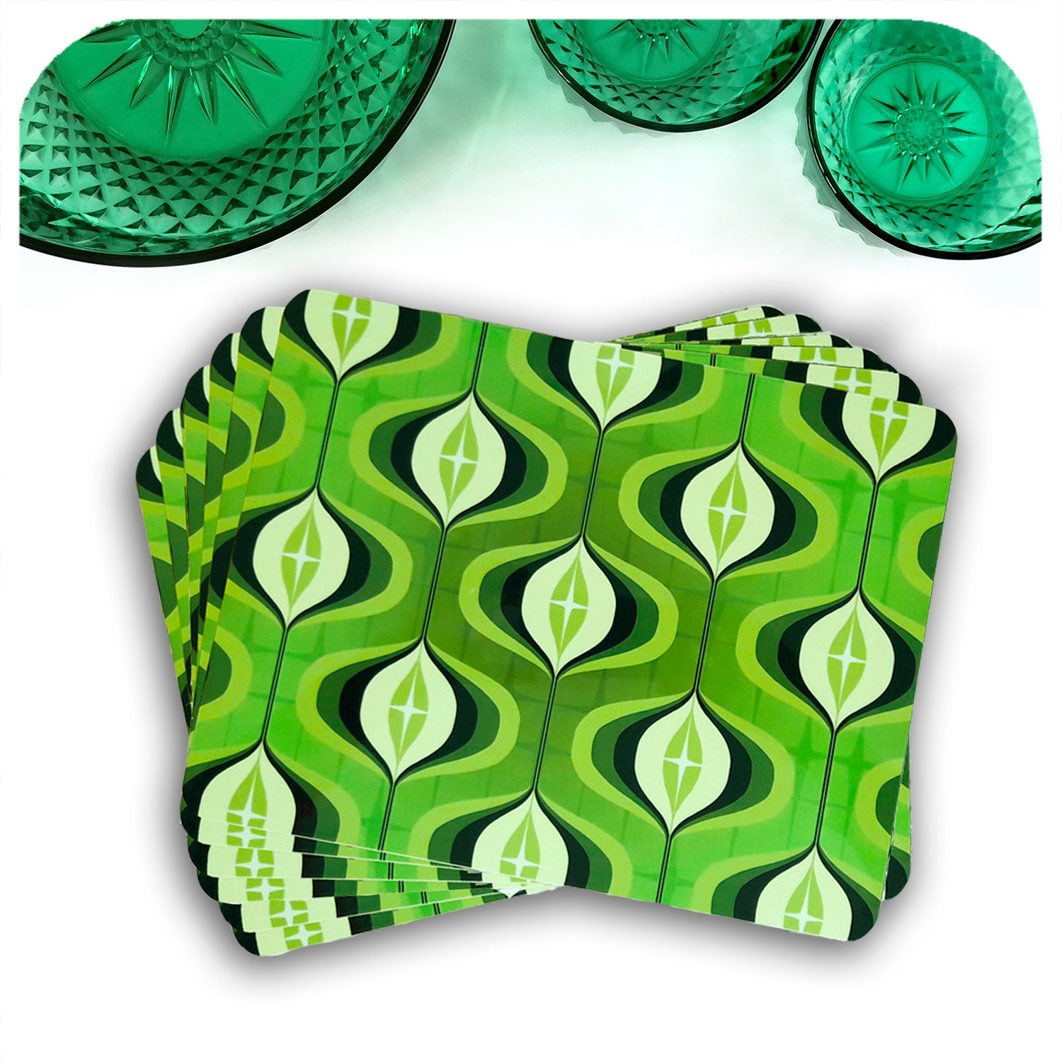 1970s Op Art Placemats in green, set of 6 in a fan with vintage bowls | The Inkabilly Emporium