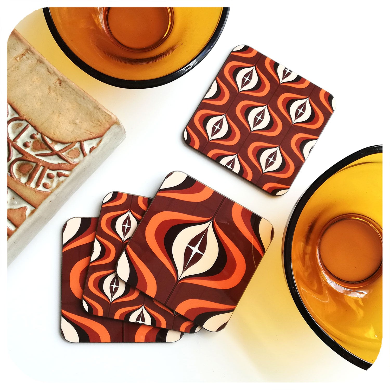 70s Set of 4 Op Art coasters in Brown and Orange | The Inkabilly Emporium