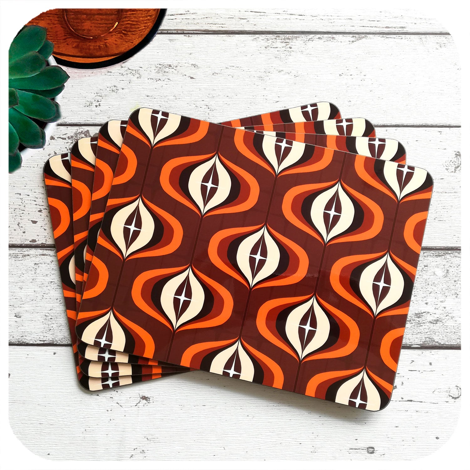 70s Style Op Art Placemats in Orange and Brown, set of 4 laid out in a fan | The Inkabilly Emporium