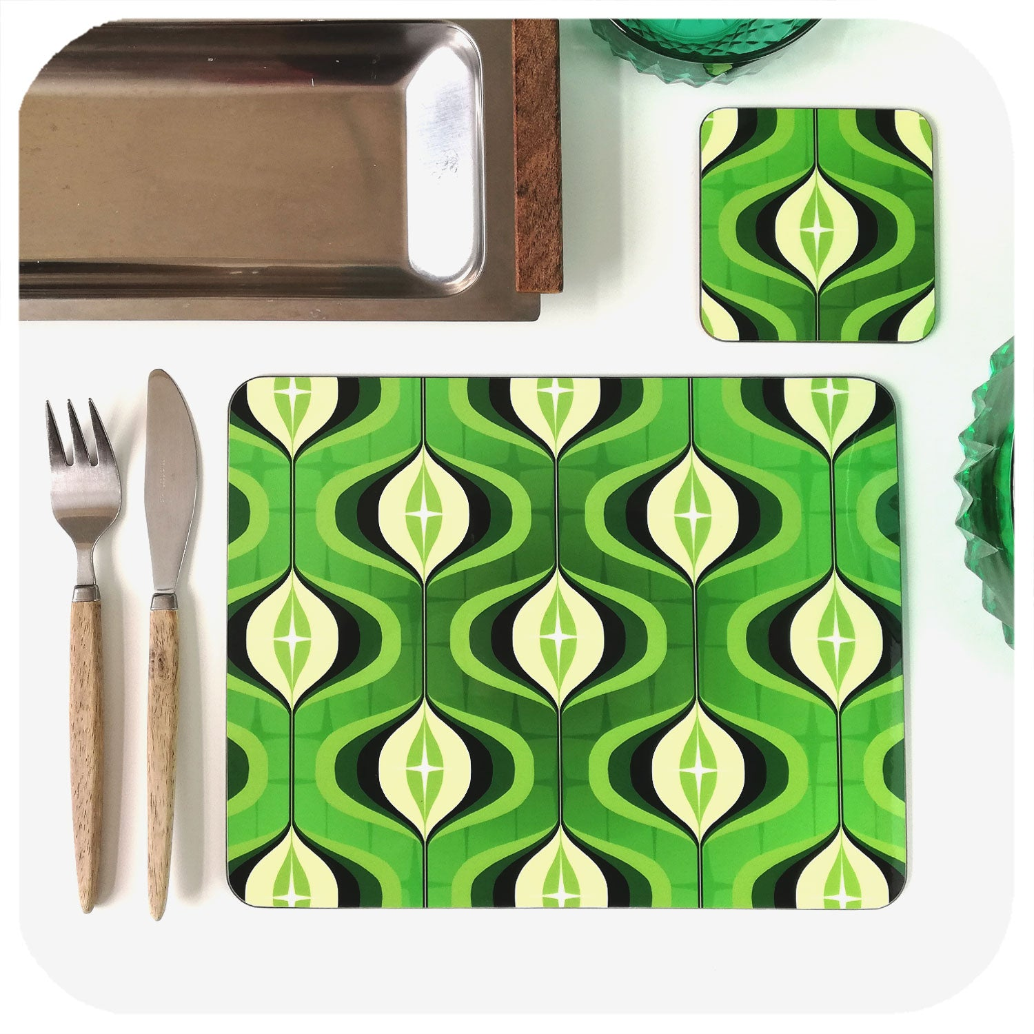 1970s Green Op Art Placemat & Coaster | The Inkabilly Emporium