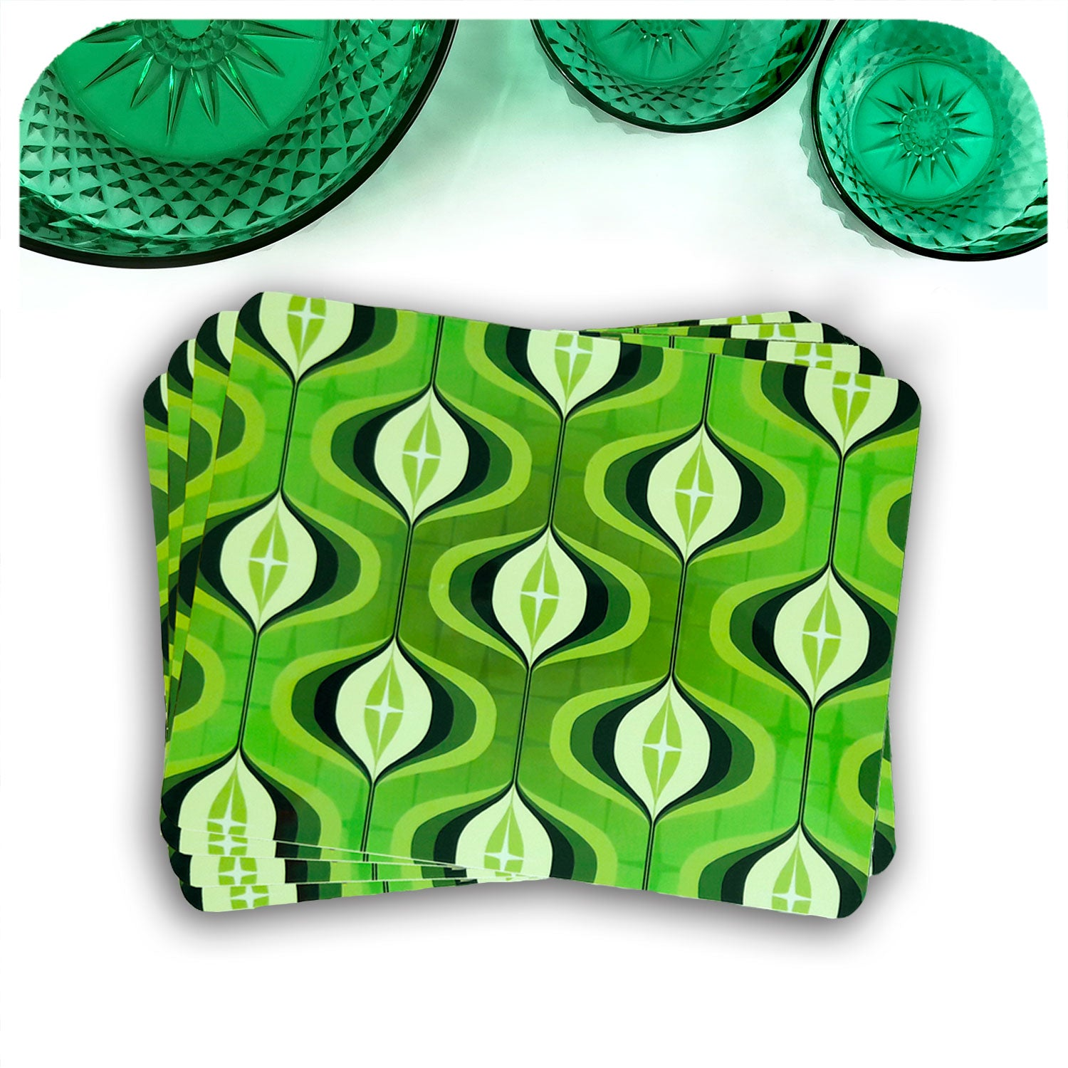 1970s Green Op Art Placemats, set of 4 in a fan | The Inkabilly Emporium