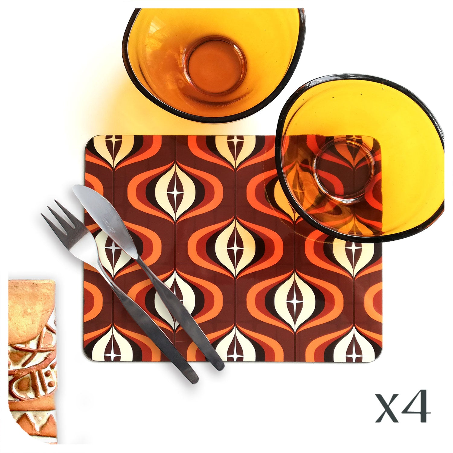 70s Style Op Art Placemat in Orange and Brown, set with vintage tableware | The Inkabilly Emporium
