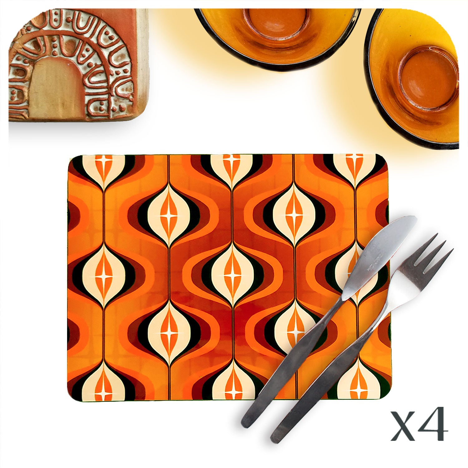 Retro 70s Op Art Placemat in Orange, set of 4 | The Inkabilly Emporium