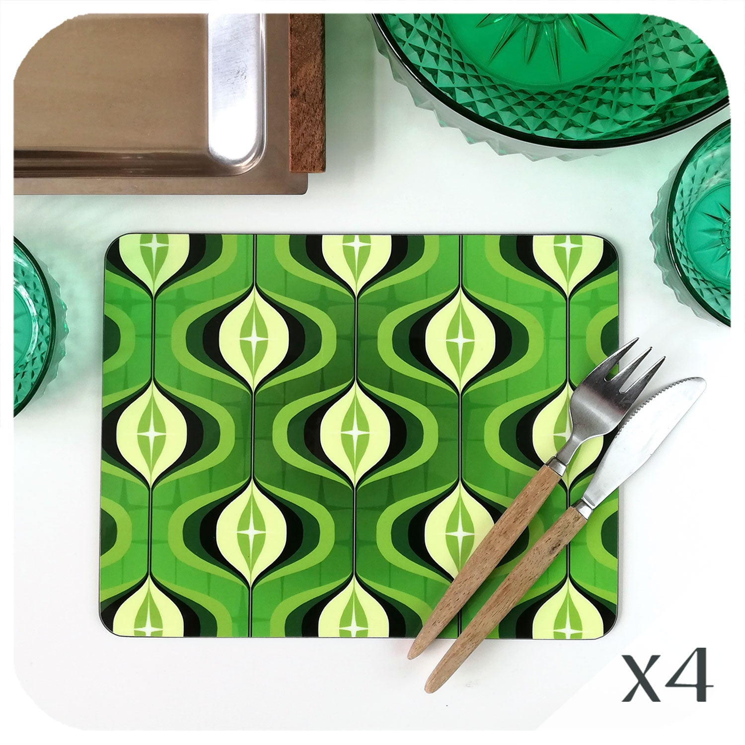 1970s Green Op Art Placemats, set of 4 | The Inkabilly Emporium