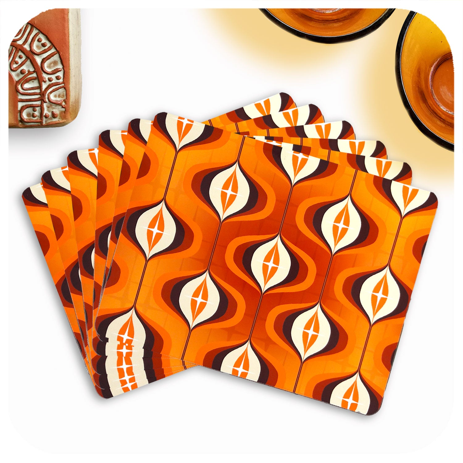 Orange Op Art Placemats, set of 6 in a fan | The Inkabilly Emporium