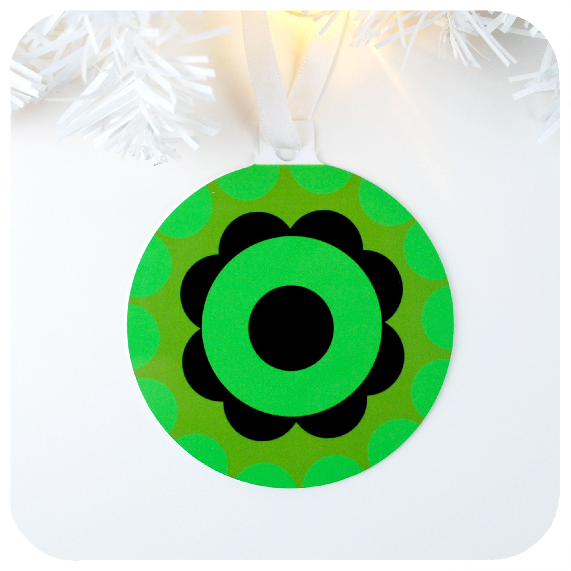 1970s style Christmas Tree Decoration, Two tone green Bauble | The Inkabilly Emporium