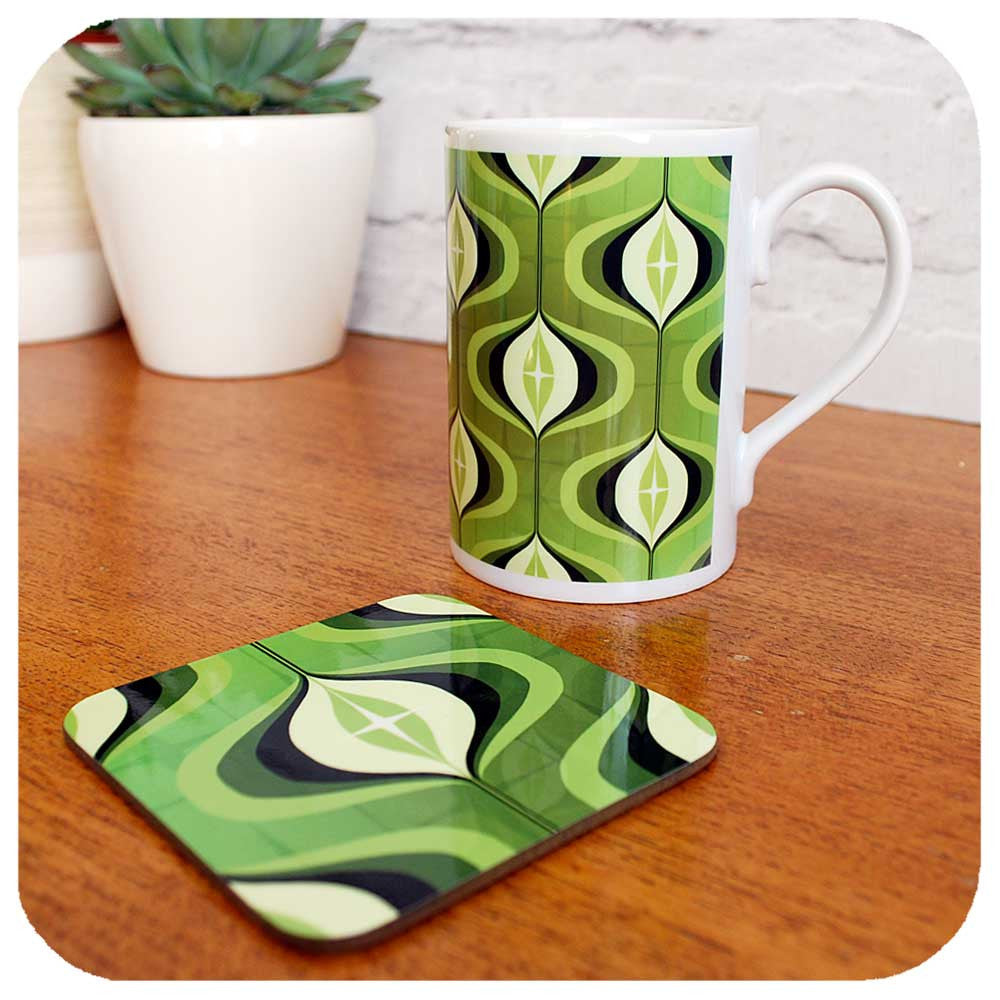 Retro Coffee Mug and Coaster, 1970s Green