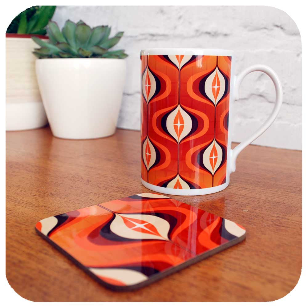 70s retro mug and coaster set