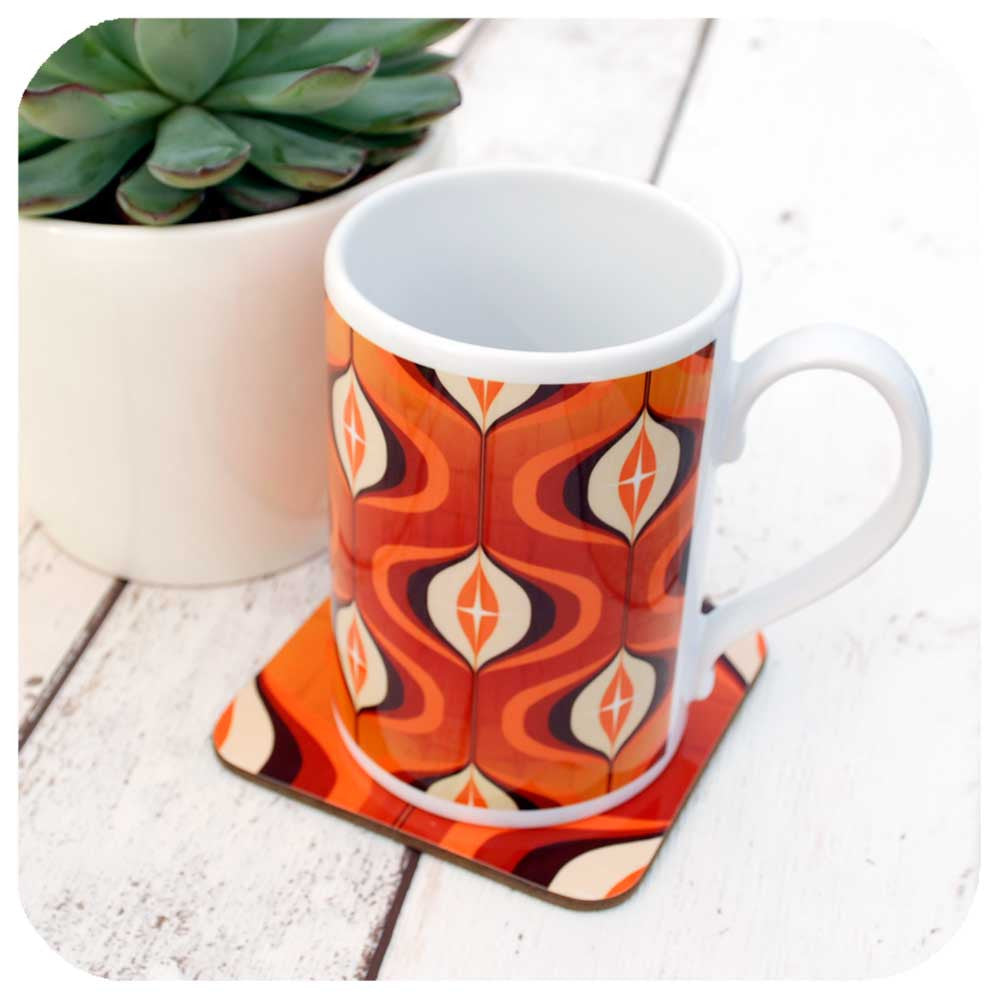 Orange retro coffee mug with matching coaster