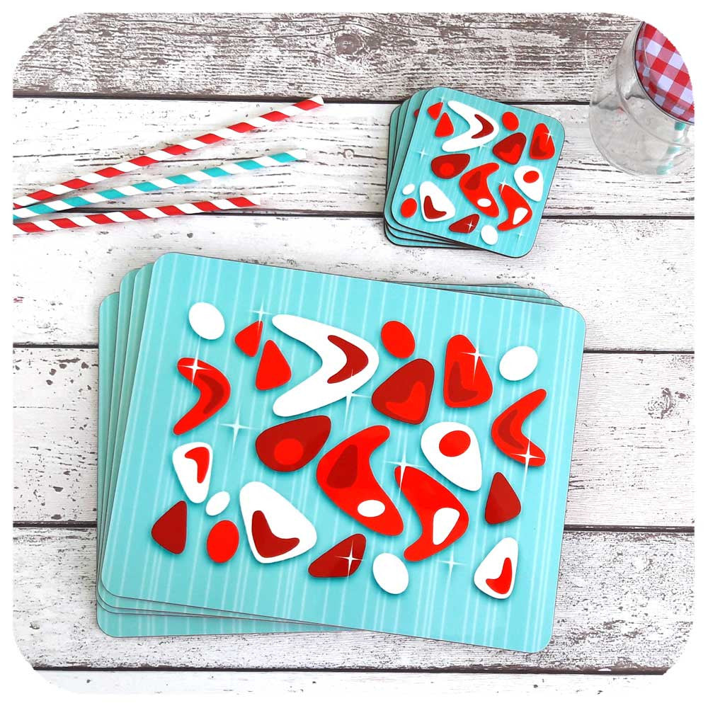 Atomic Boomerang in Aqua & Red, placemats & Coasters | The Inkabilly Emporium