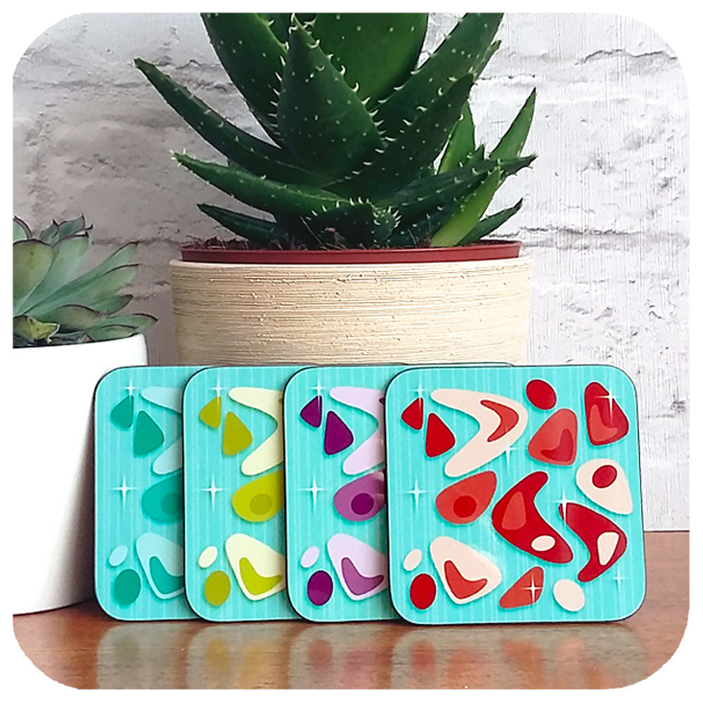 Atomic Boomerang Coasters in turquoise | The Inkabilly Emporium