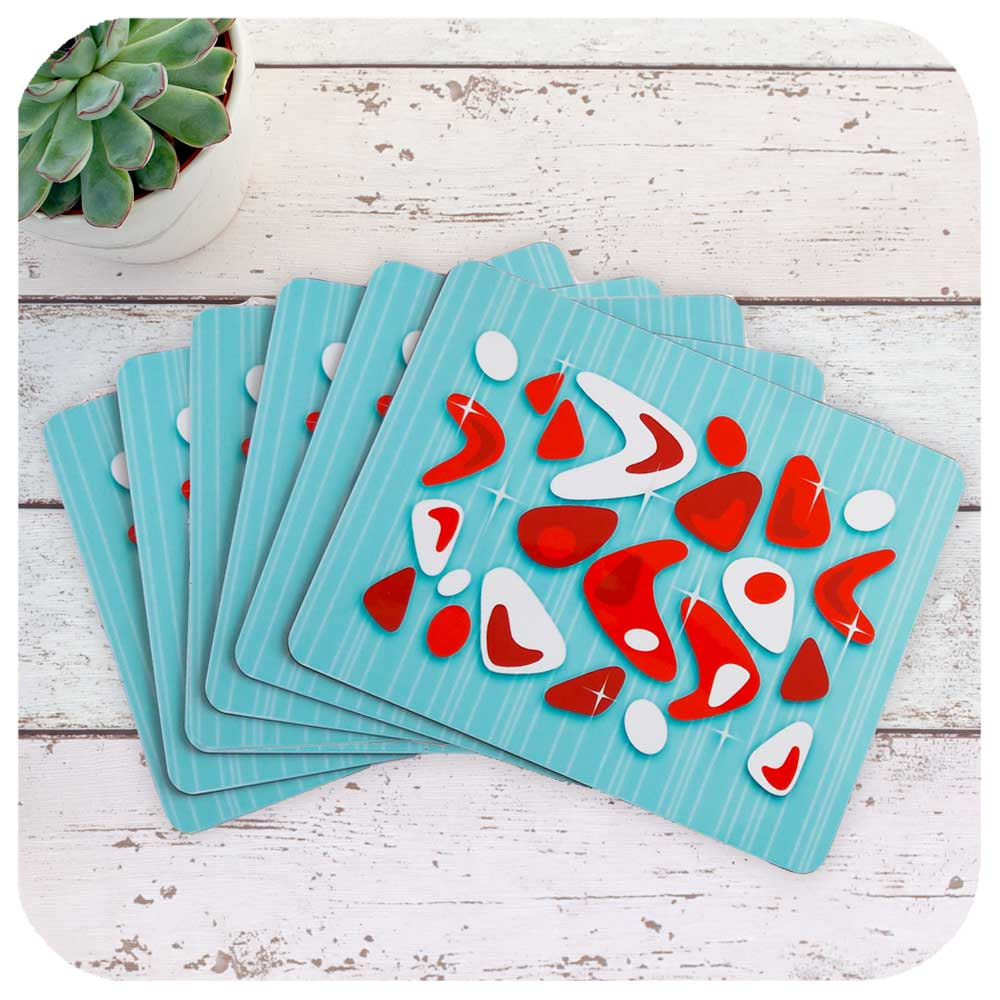 Atomic Boomerang Place Mats in Red & Turquoise, set of 6 | The Inkabilly Emporium