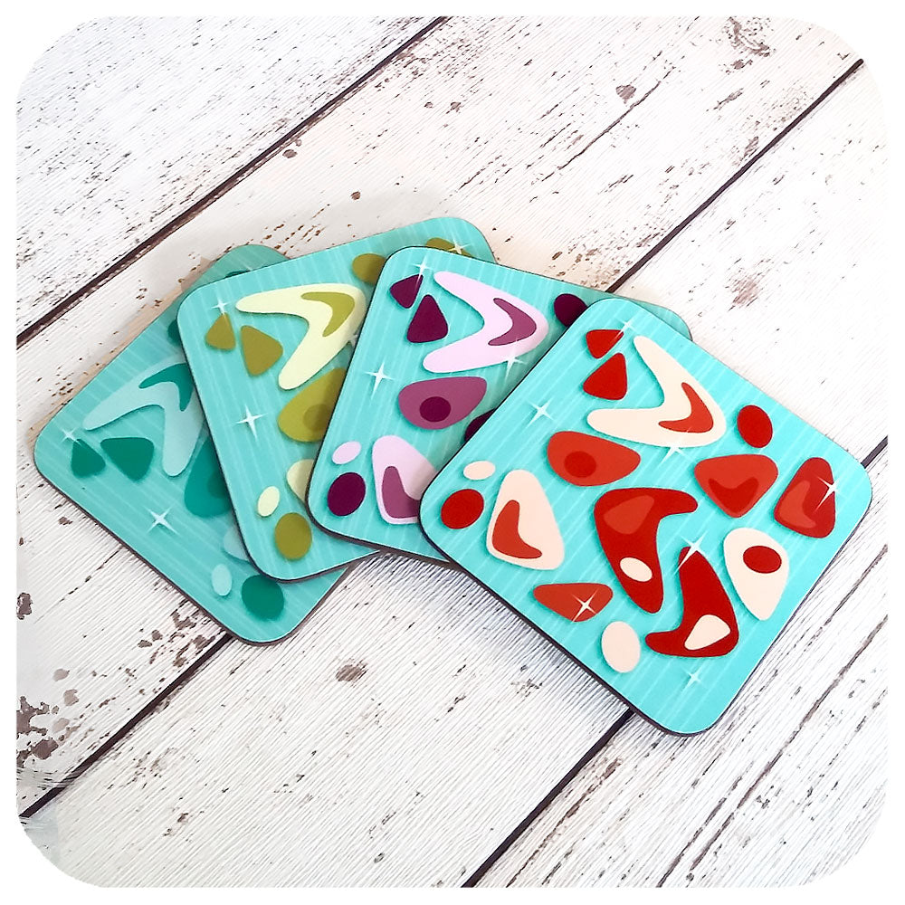 Atomic Boomerang Coasters, on Turquoise | The Inkabilly Emporium