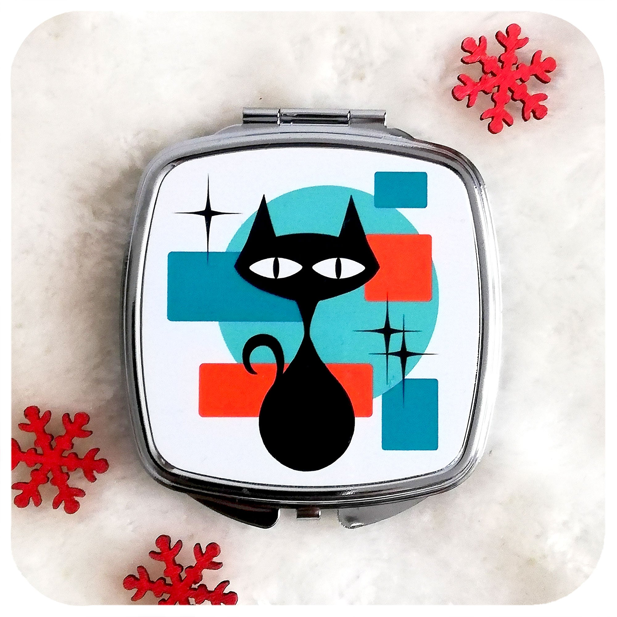 Atomic Cat 50s style Compact Mirror on white fur with Christmas stars | The Inkabilly Emporium
