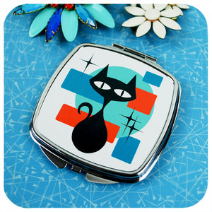 Atomic Cat 50s style Compact Mirror on retro table with vintage brooches | The Inkabilly Emporium