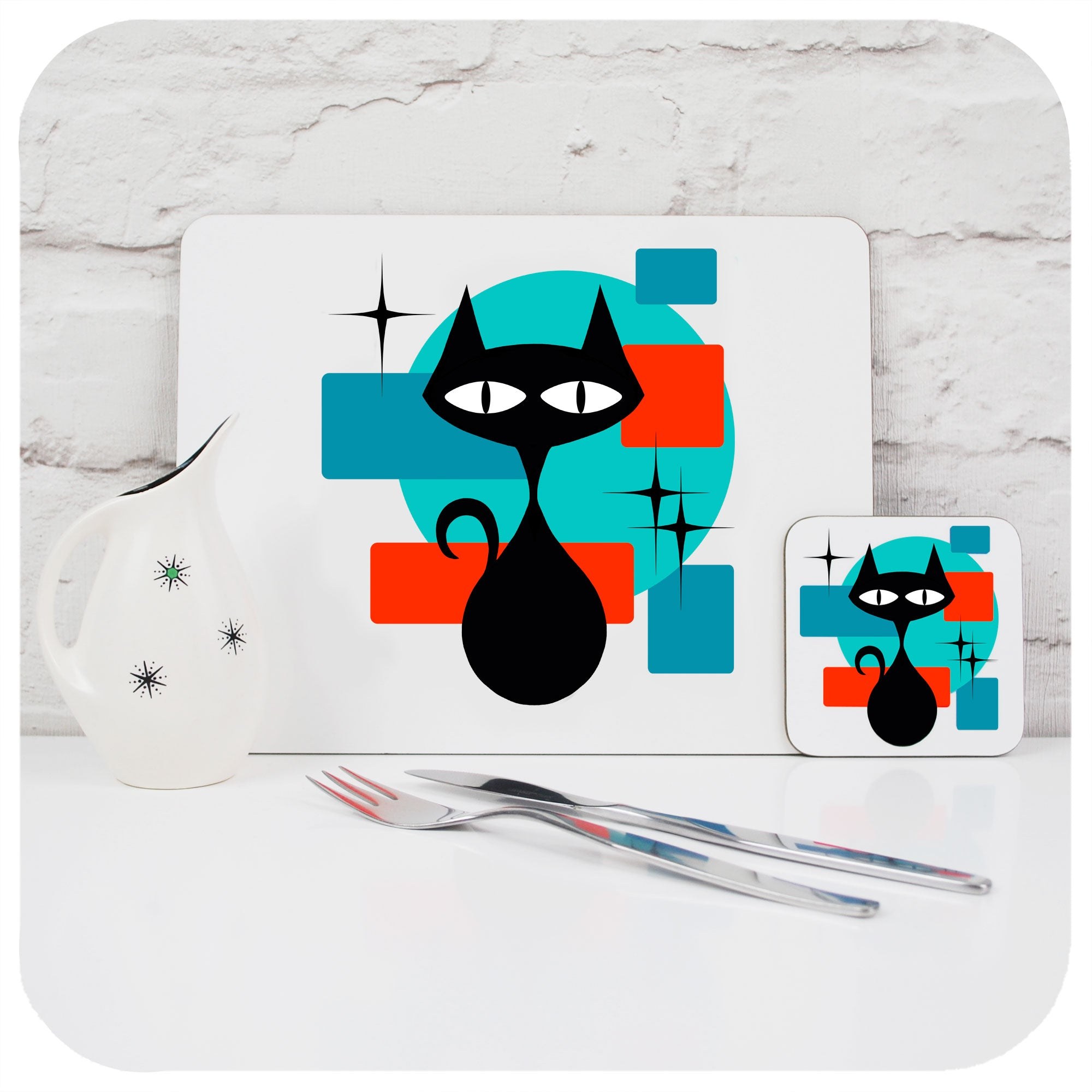 Atomic Cat Placemat and Coaster with vintage cutlery and jug | The Inkabilly Emporium