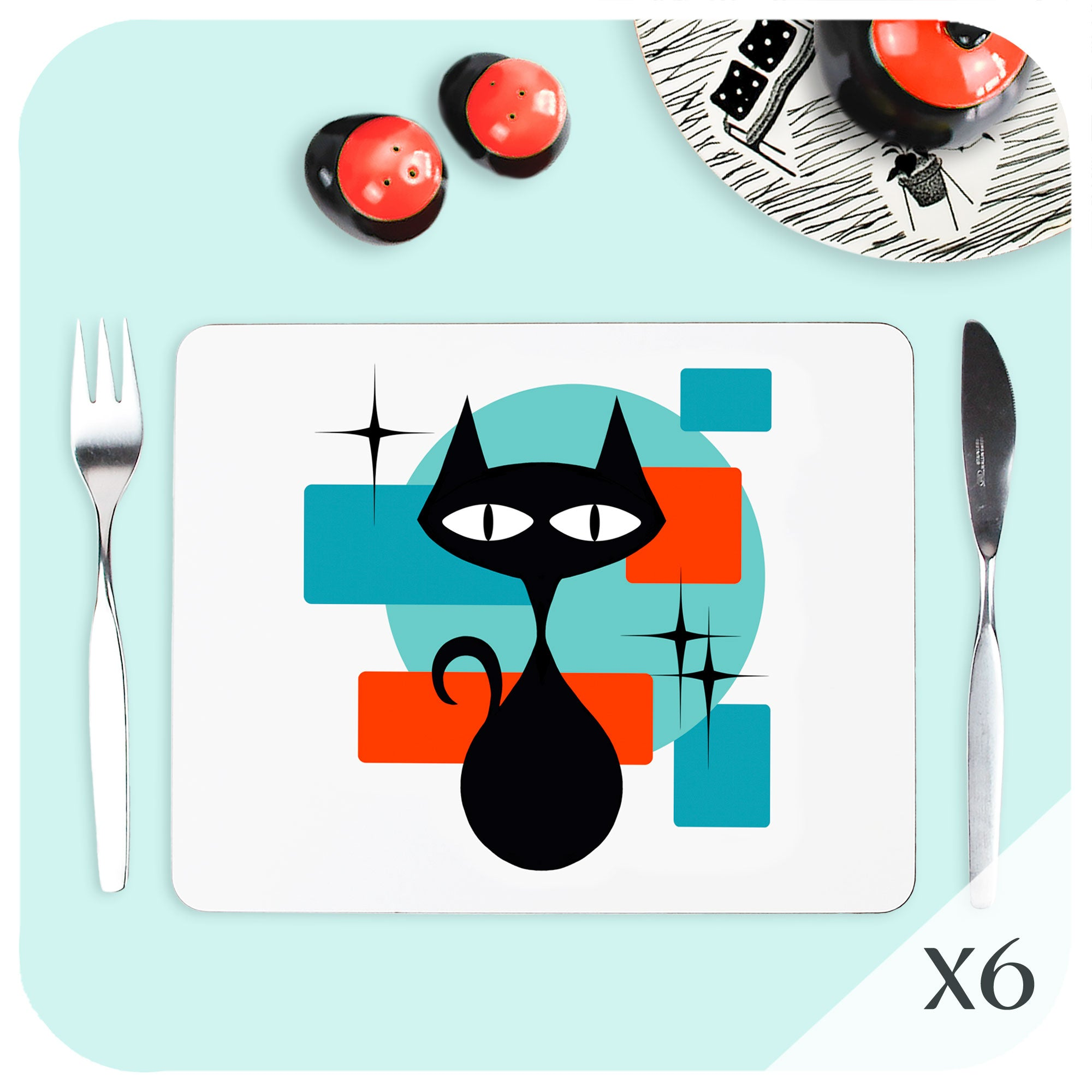 Atomic Cat Placemat set on a table with vintage tableware | The Inkabilly Emporium