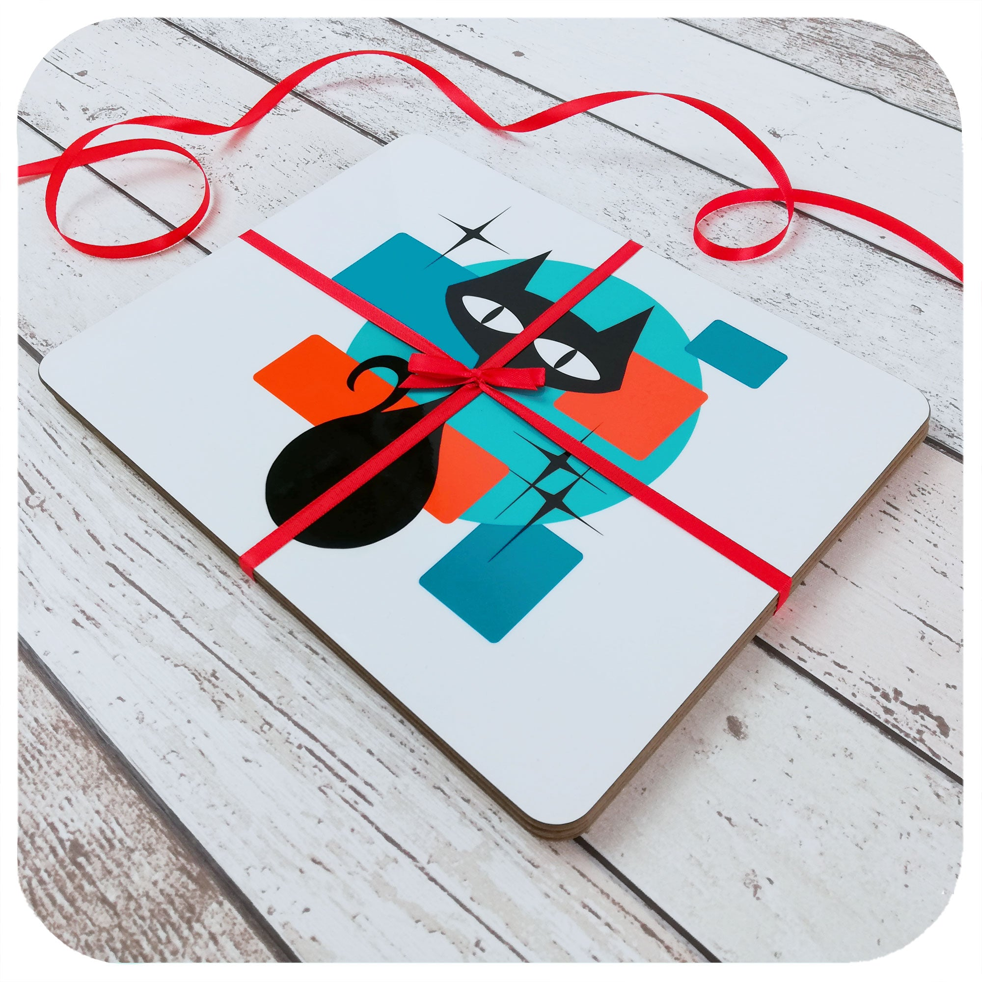 Set of 6 Atomic Cat Placemats tied with red ribbon | The Inkabilly Emporium