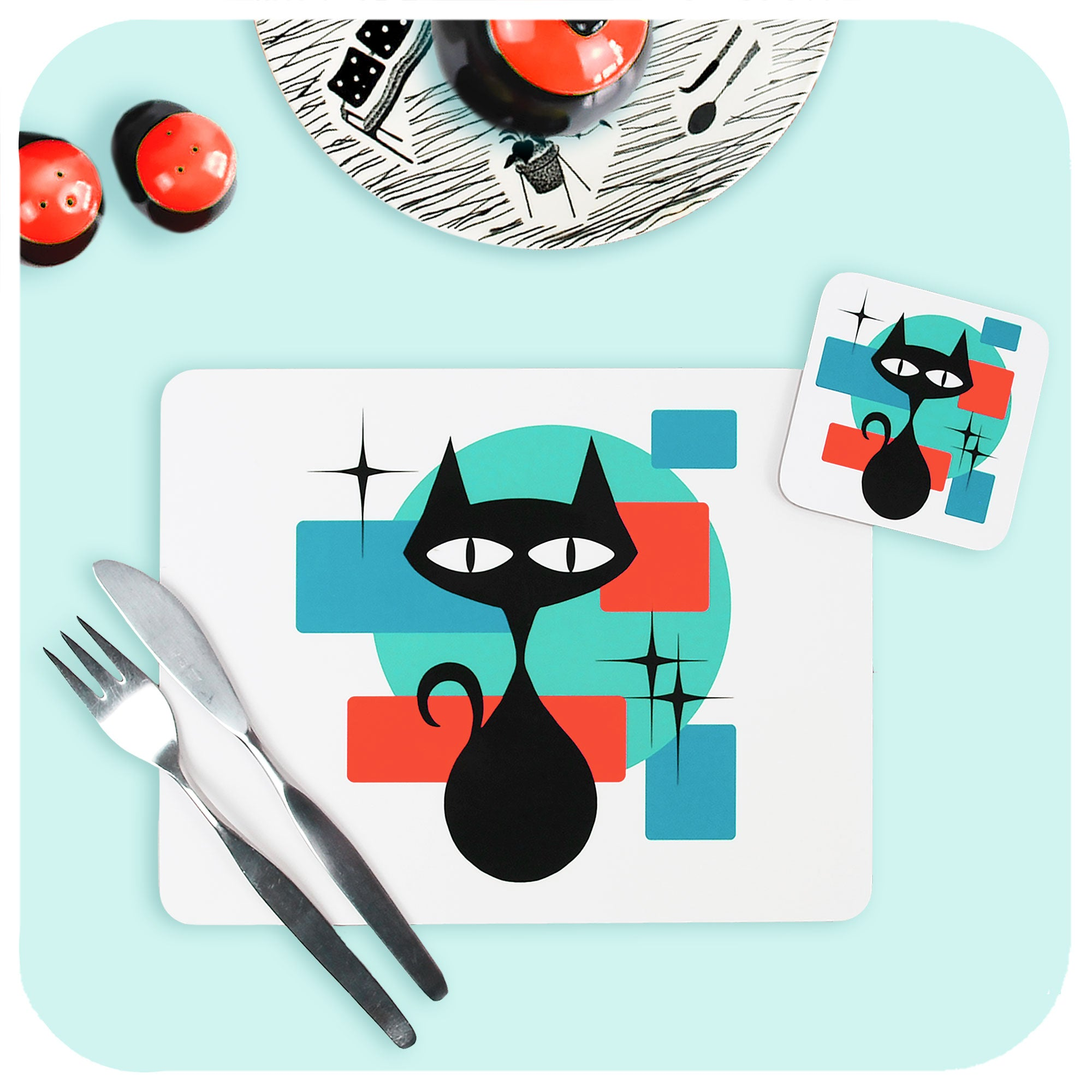 Atomic Cat Placemat and Coaster with vintage tableware | The Inkabilly Emporium