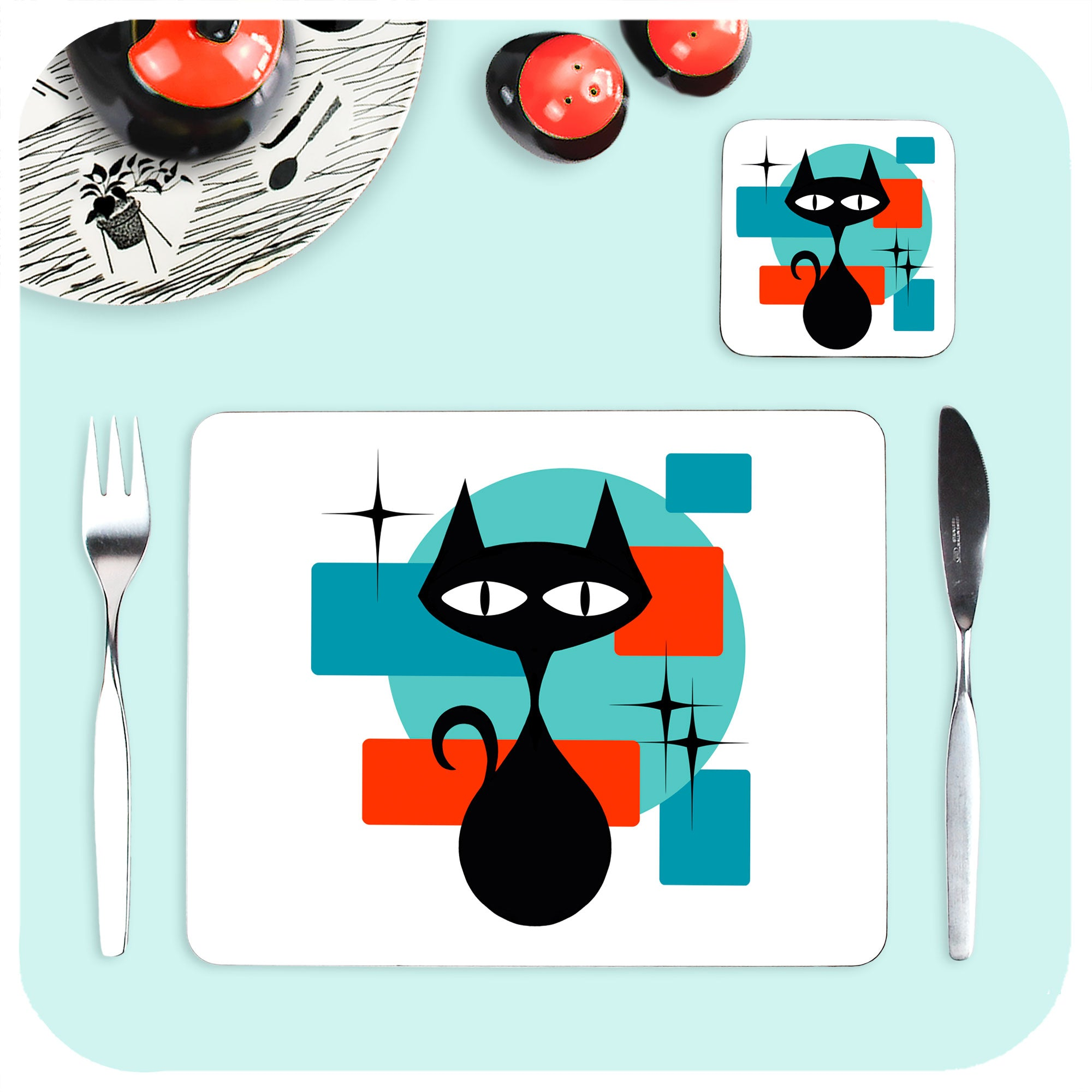 Atomic Cat Placemat and Coaster, with vintage tableware | The Inkabilly Emporium
