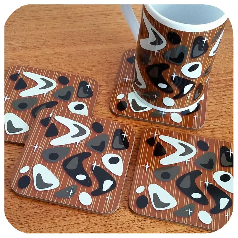 Mid Century Atomic Boomerang Mug with matching coasters | The Inkabilly Emporium