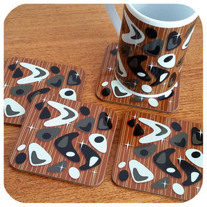 Atomic Boomerang Mug, Black & White on Teak | The Inkabilly Emporium