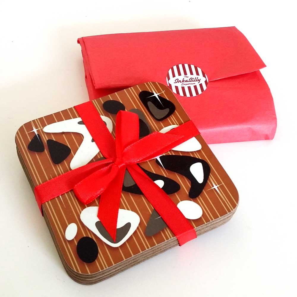 Atomic Leopard Print Coasters gift packaging as standard!