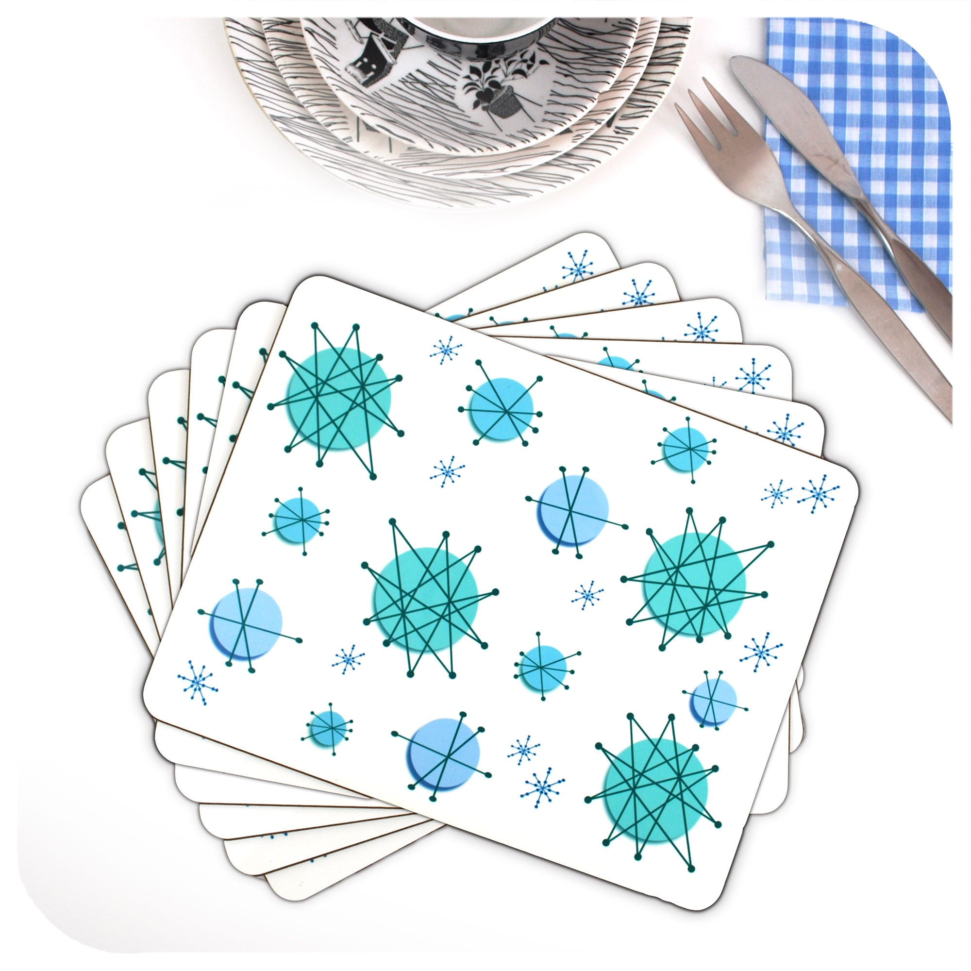 Atomic Starburst Placemats, set of 6 in a fan | The Inkabilly Emporium