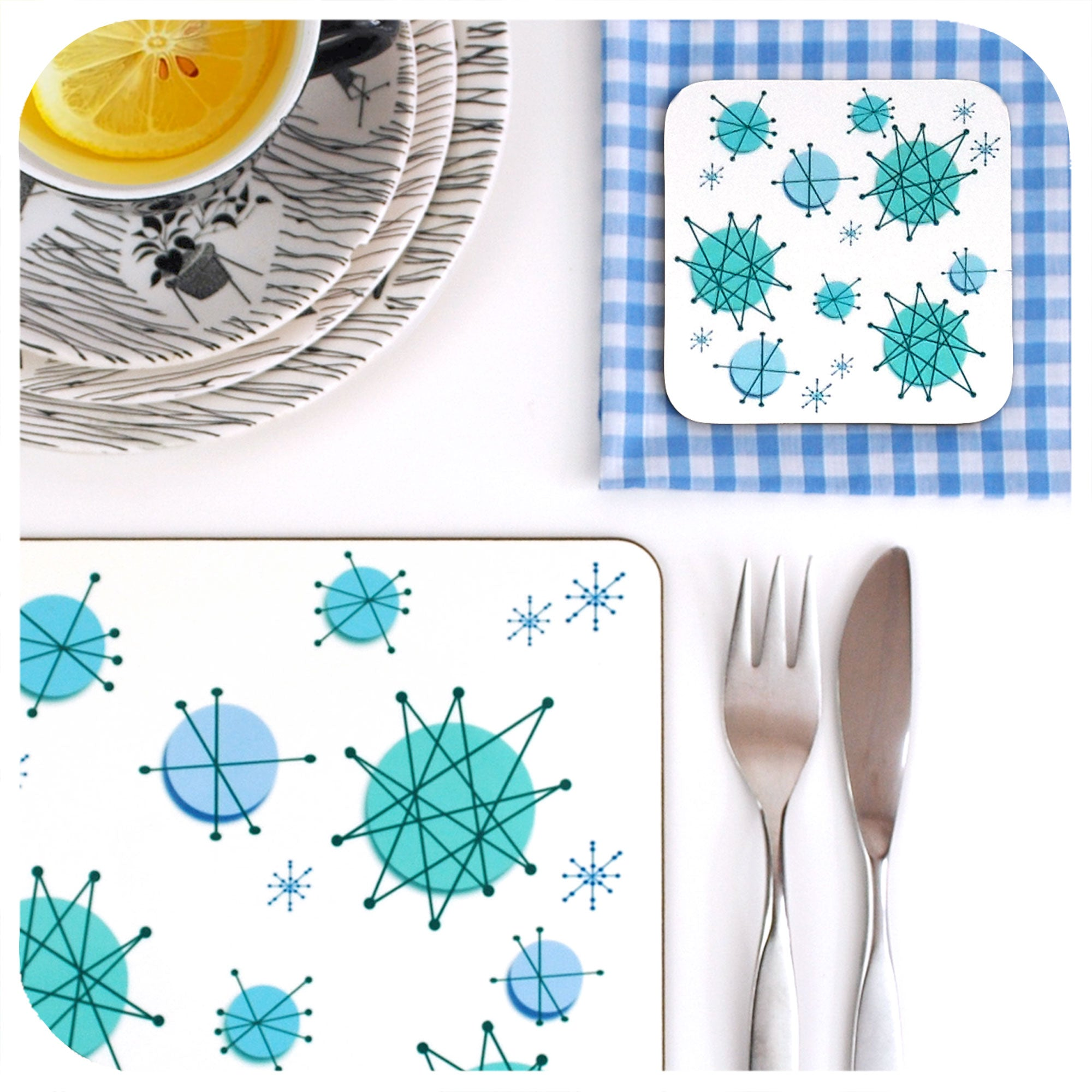 Atomic Starburst Placemat & Coaster, close up | The Inkabilly Emporium