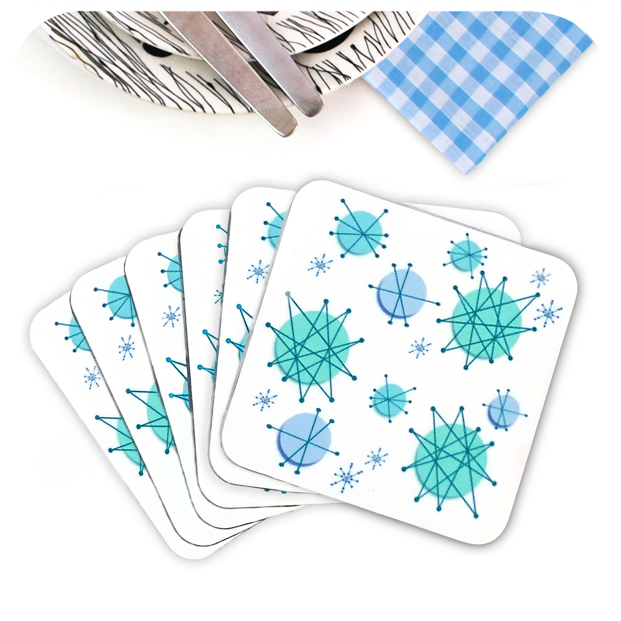 Atomic Starburst Coasters, set of 6 in a fan | The Inkabilly Emporium