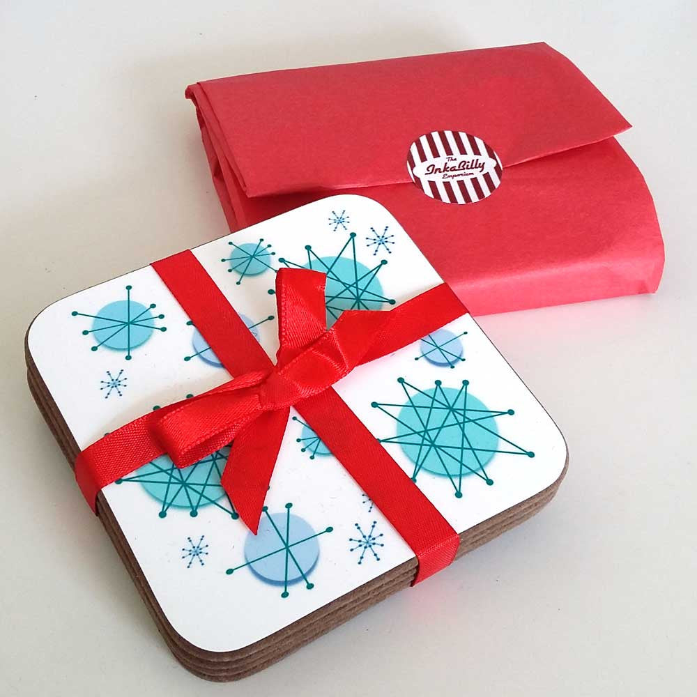 Atomic Starburst Coasters, gift packaging as standard  | The Inkabilly Emporium