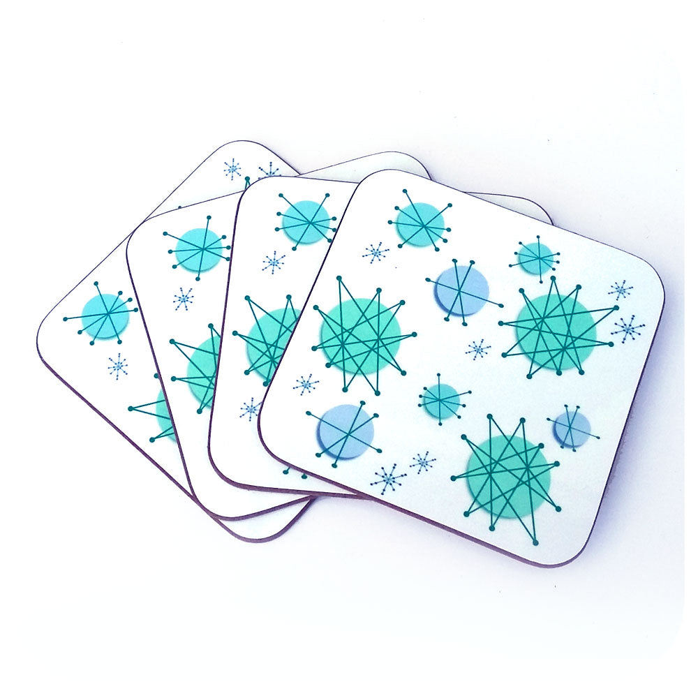 Atomic Starburst retro coasters, set of four. Franciscan starburst reproduction style by Inkabilly