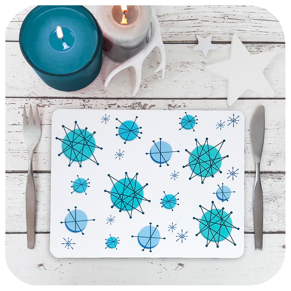 Atomic Starburst Placemats in Turquoise, Table Setting with candles | The Inkabilly Emporium
