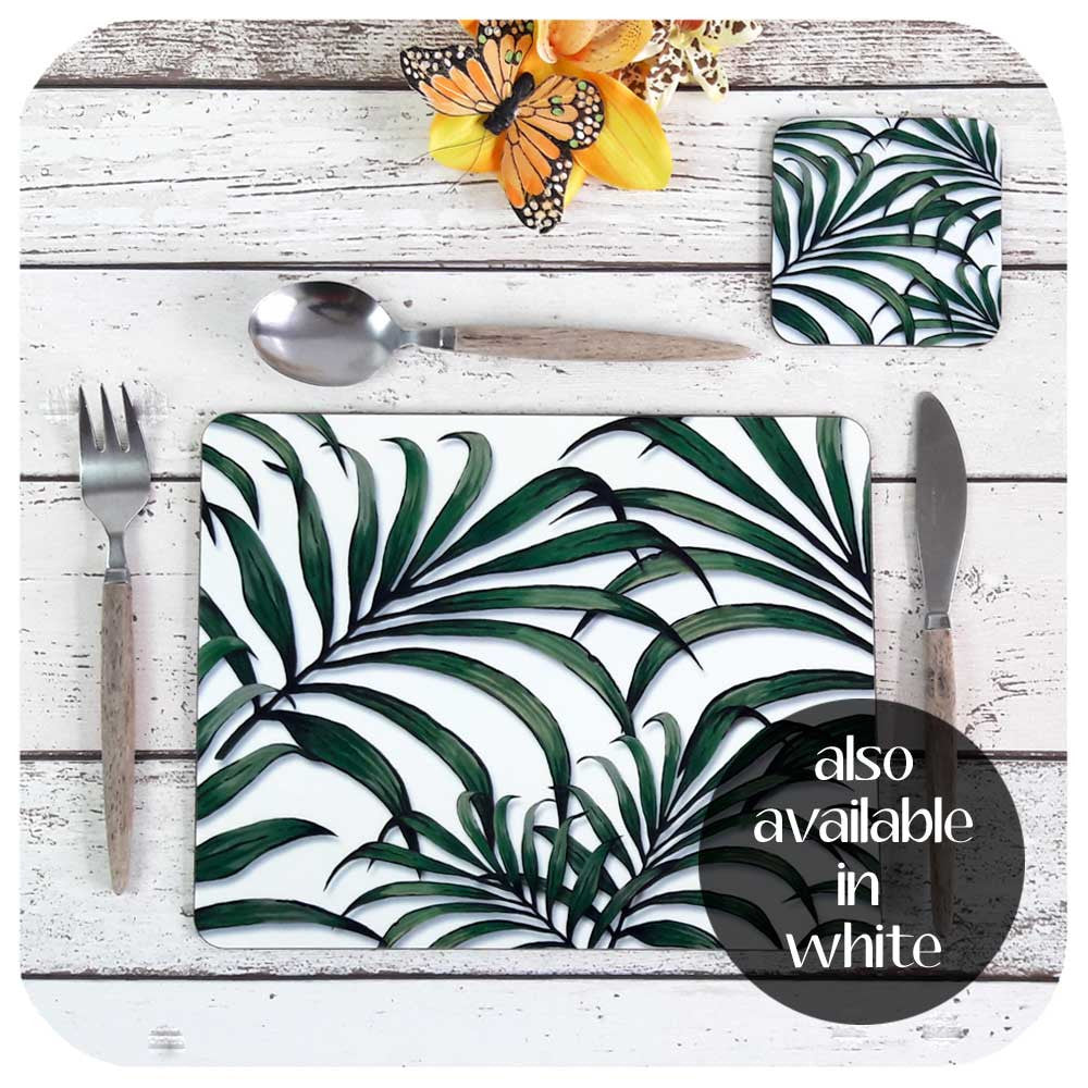 Our Palm Leaf Print Tableware Sets are also available in White | The Inkabilly Emporium