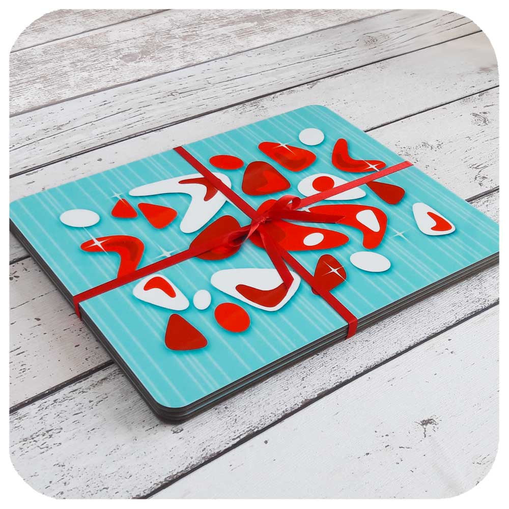 Aqua and Red Atomic Boomerang Placemats, Set of 6, tied with red ribbon  | The Inkabilly Emporium