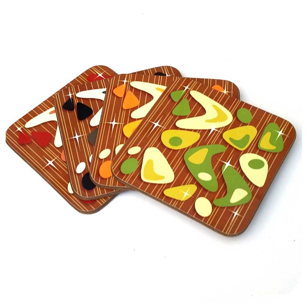 Atomic Boomerang Coasters, 1970's palette, set of four