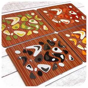 Atomic Boomerang, Mid Century Style Placemats on Teak | The Inkabilly Emporium