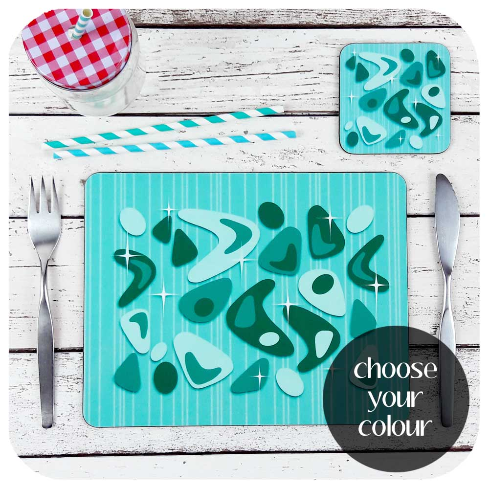 Atomic Boomerang Place Settings - choose your colour  | The Inkabilly Emporium