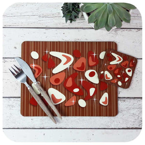 Atomic Boomerang Placemat & Coaster Set - Red on Teak | MCM Tableware by The Inkabilly Emporium