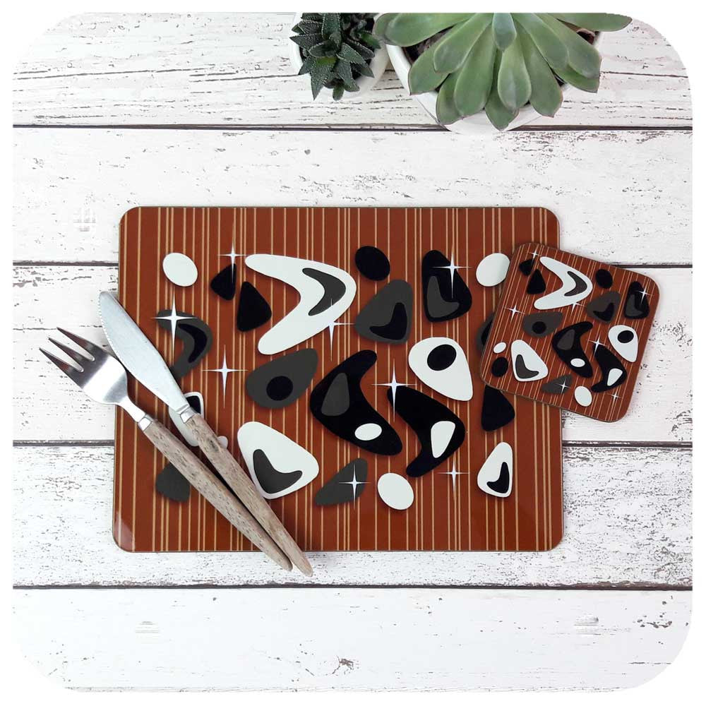 Black & White Atomic Boomerang Placemat & Coaster Set | The Inkabilly Emporium
