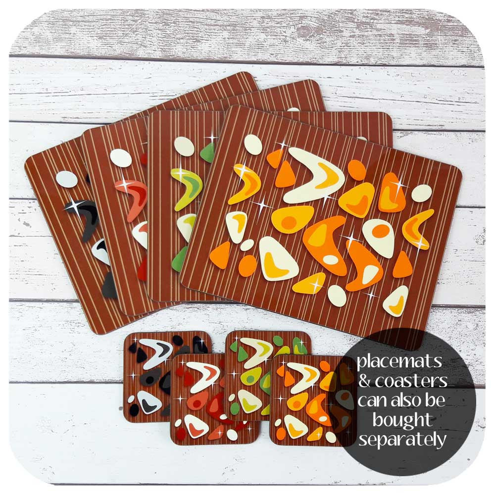 Atomic Boomerang on Teak Placemats & Coasters can be bought as separate sets | The Inkabilly Emporium