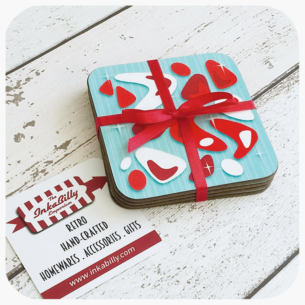 Atomic Boomerang Coaster Set, Turquoise and Red | The Inkabilly Emporium