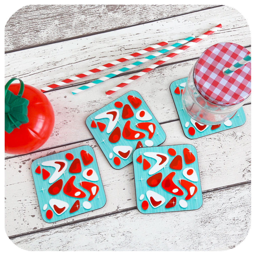 Atomic Boomerang Coasters on Turquoise  | The Inkabilly Emporium