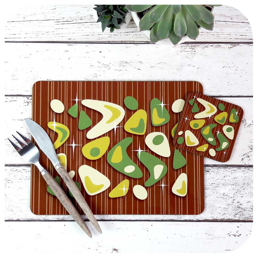 Atomic Boomerang Tableware Set, Green on Teak | The Inkabilly Emporium