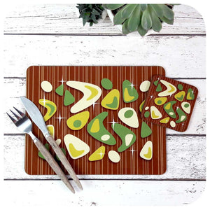Atomic Boomerang Placemat & Coaster Set, Green on Teak | The Inkabilly Emporium