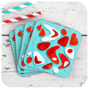 Atomic Boomerang Coasters in Aqua and Red | The Inkabilly Emporium