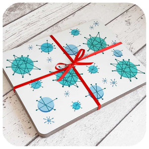Atomic Starburst Placemats in Turquoise, Christmas Table Setting | The Inkabilly Emporium