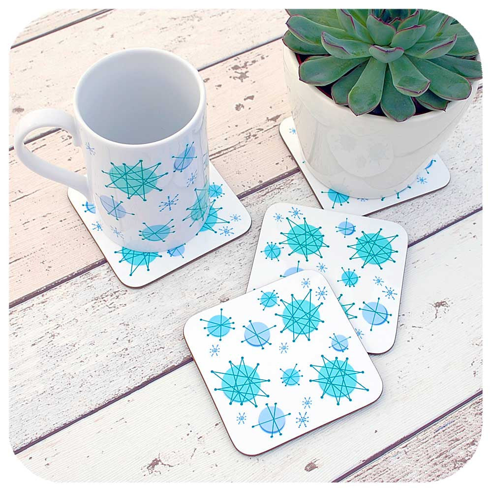 Matching Atomic Starburst Coasters and Mugs | The Inkabilly Emporium